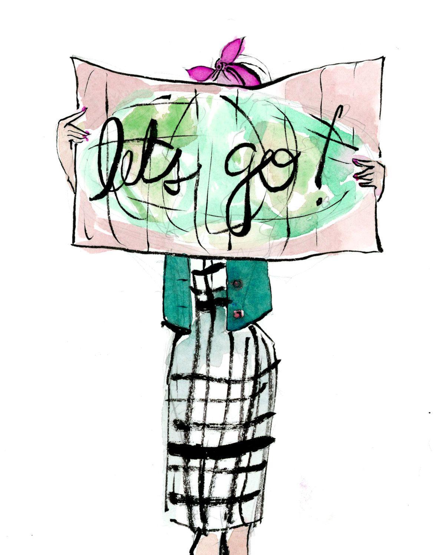 1200x1500 Travel Art Print Let's Go! Map Girl A Winding