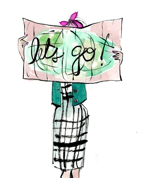 570x713 Travel Art Print Let's Go! Map Girl In Products Travel