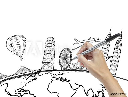 500x382 Hand Drawing The Dream Travel Around The World