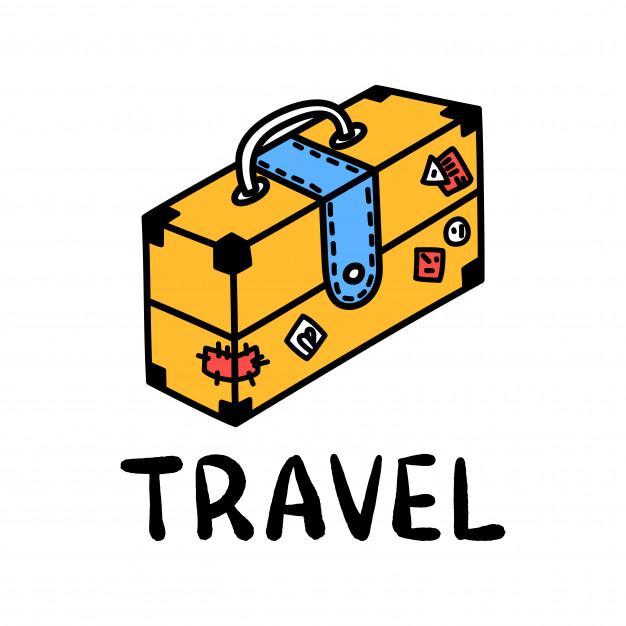 626x626 Cartoon Travel Suitcase Doodle Lettering For Decoration Design