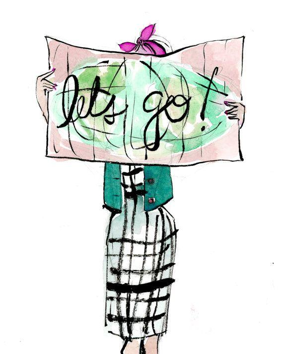570x713 Travel Art Print Let's Go! Map Girl Chicas Tumblr Art, Travel