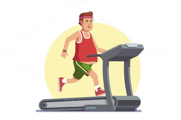 580x386 obese young man running on treadmill illustrations