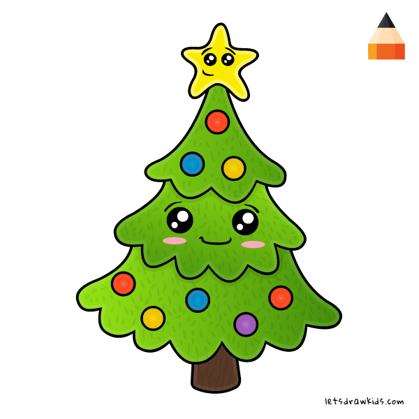 How To Draw A Christmas Tree Step By Step For Beginners.Tree Drawing For Kids Free Download Best Tree Drawing For