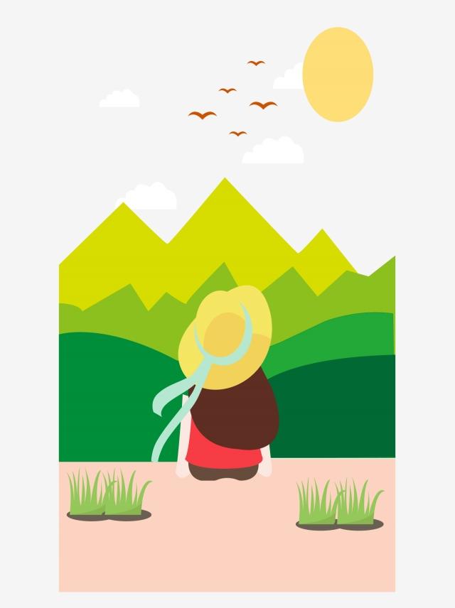 640x856 little girl landscape hand drawing, little girl scenery, cartoon