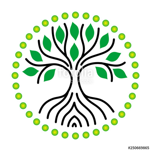 500x500 The Tree Of Life Of Black Lines And Green Leaves Symbolic Drawing