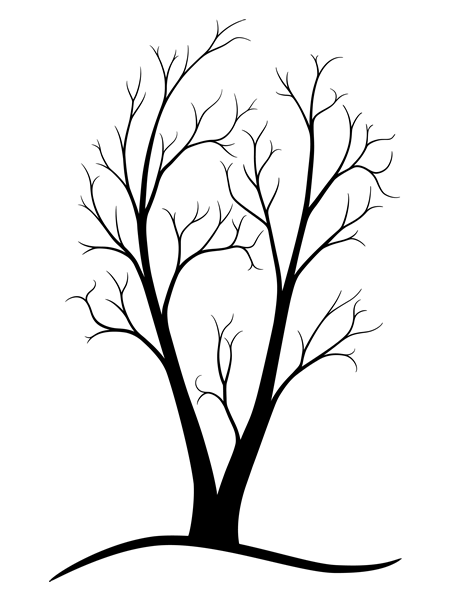 450x600 two trunk tree {ink'd} tree line drawing, drawings, circle design