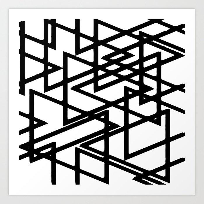700x700 Interlocking Black Triangles Artistic Design Art Print