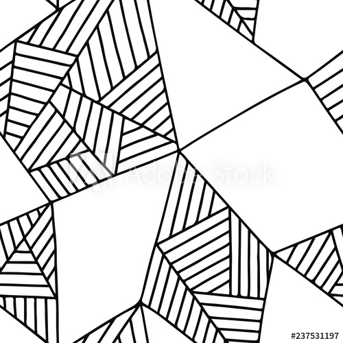 500x500 Seamless Vector Pattern, Black And White Lined Asymmetric