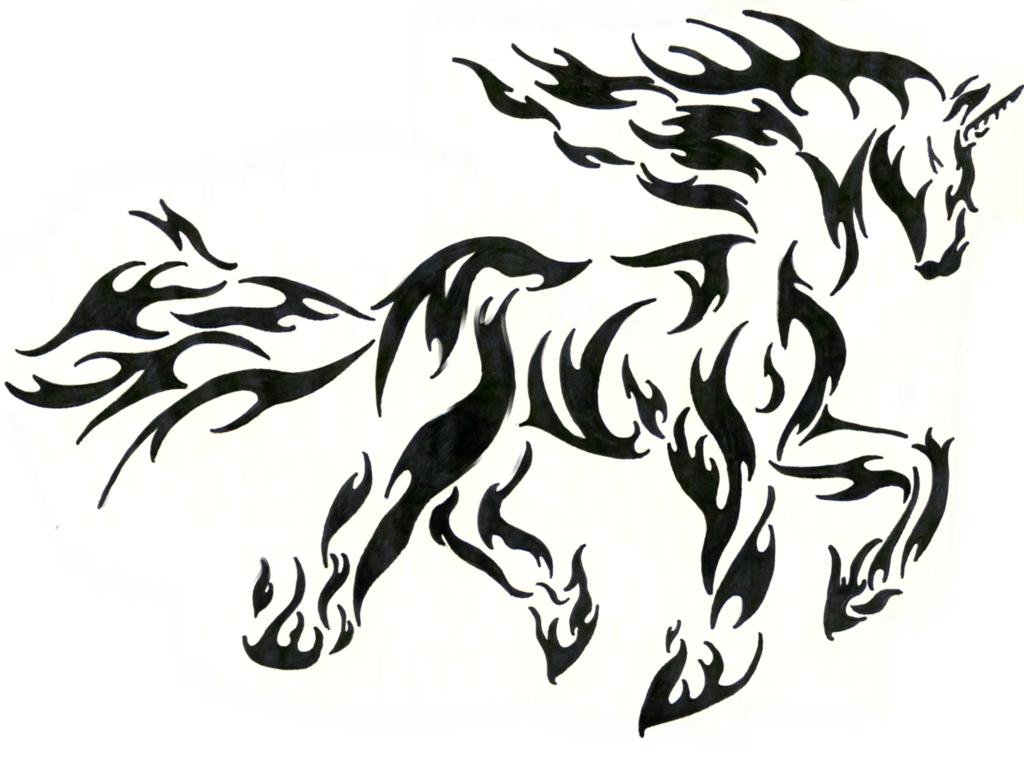 Tribal Flame Drawings