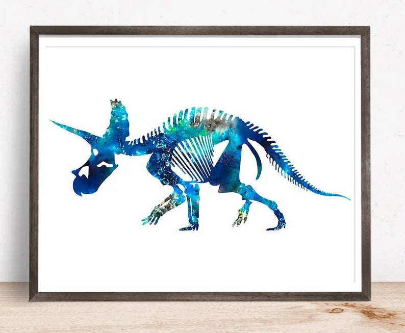 794x653 Triceratops Dinosaur Skeleton Decor Printable Wall Art Etsy