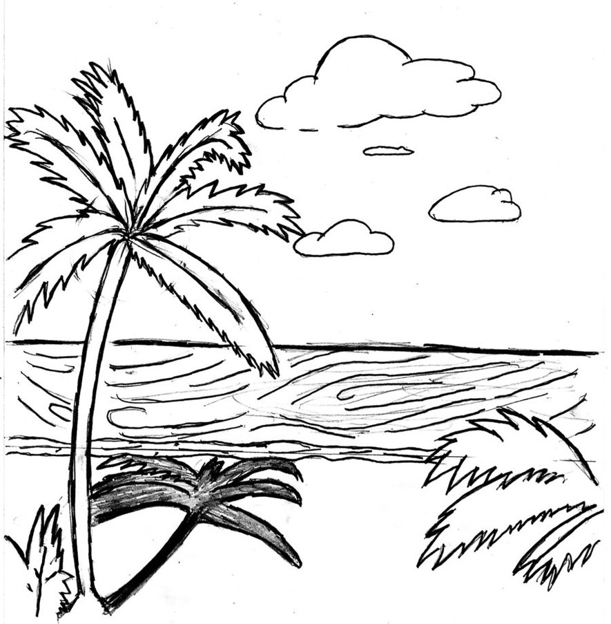 Tropical Beach Drawing | Free download on ClipArtMag