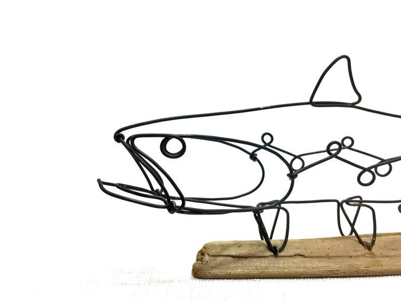 794x596 trout wire sculpture fish wire art minimal wire design etsy