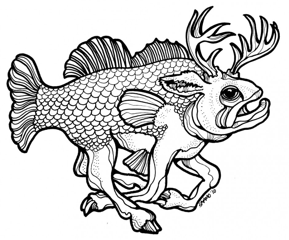 940x781 brook trout coloring page, brook trout coloring