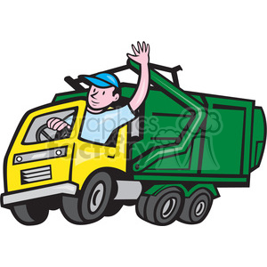 300x300 garbage truck driver wave iso clipart royalty free clipart