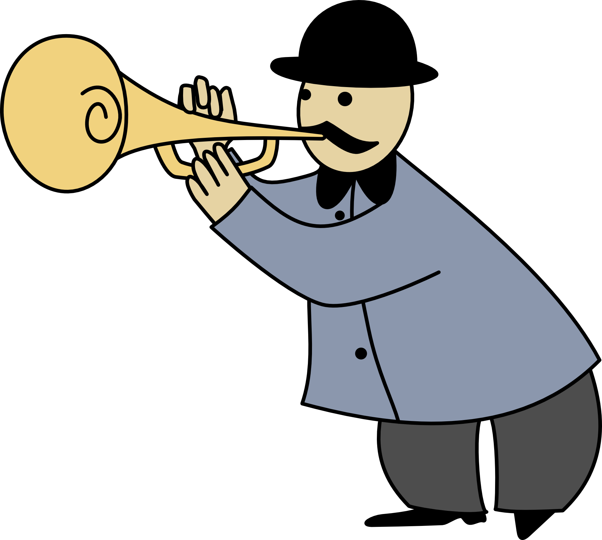 1920x1724 Drawing Of A Man Playing The Trumpet Free Image