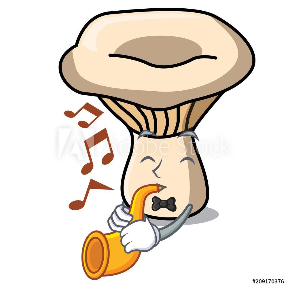 1000x1000 Photo Art Print With Trumpet Milk Mushroom Mascot Cartoon