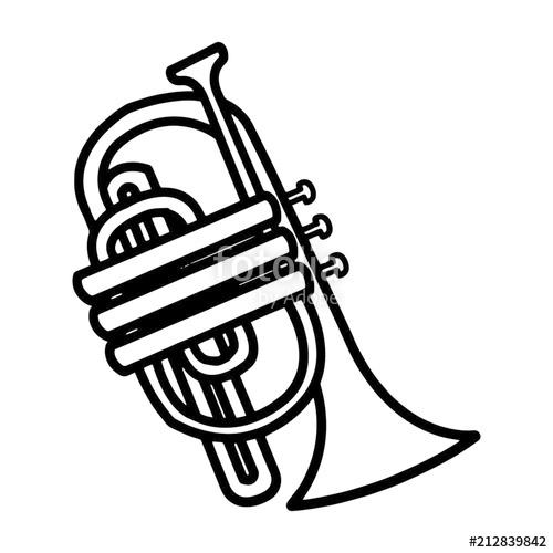 500x500 Trumpet Cartoon Illustration Isolated On White Background