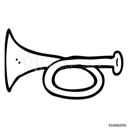 500x500 Line Drawing Cartoon Metal Trumpet
