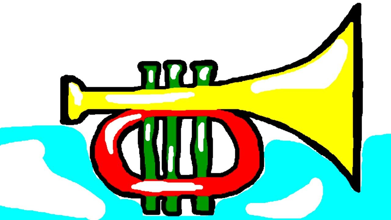 1280x720 Drawing Coloring Pages Trumpet For Kids, Learning Colors
