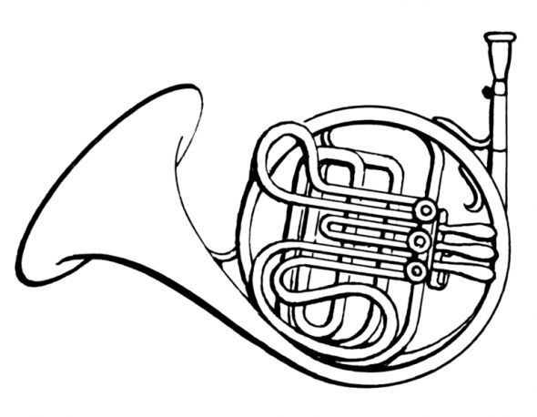 590x458 French Horn Coloring