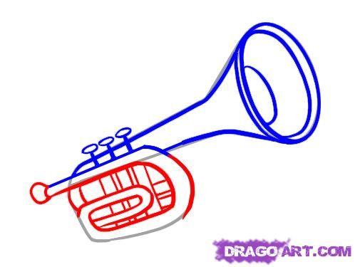 498x375 How To Draw A Trumpet For Kids Step