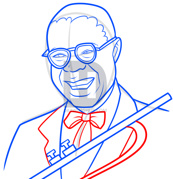 694x720 Louis Armstrong Drawing Lesson, Step