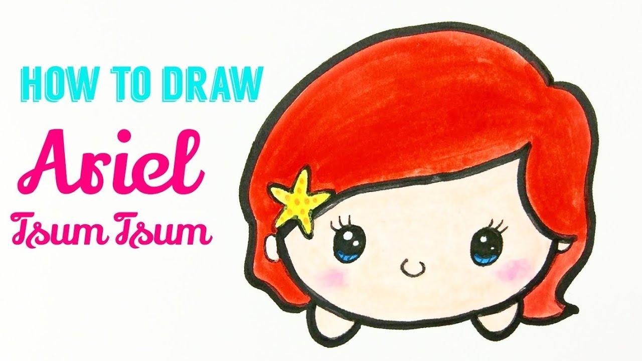 1280x720 how to draw ariel tsum tsum easy cute ariel disney tsum tsum
