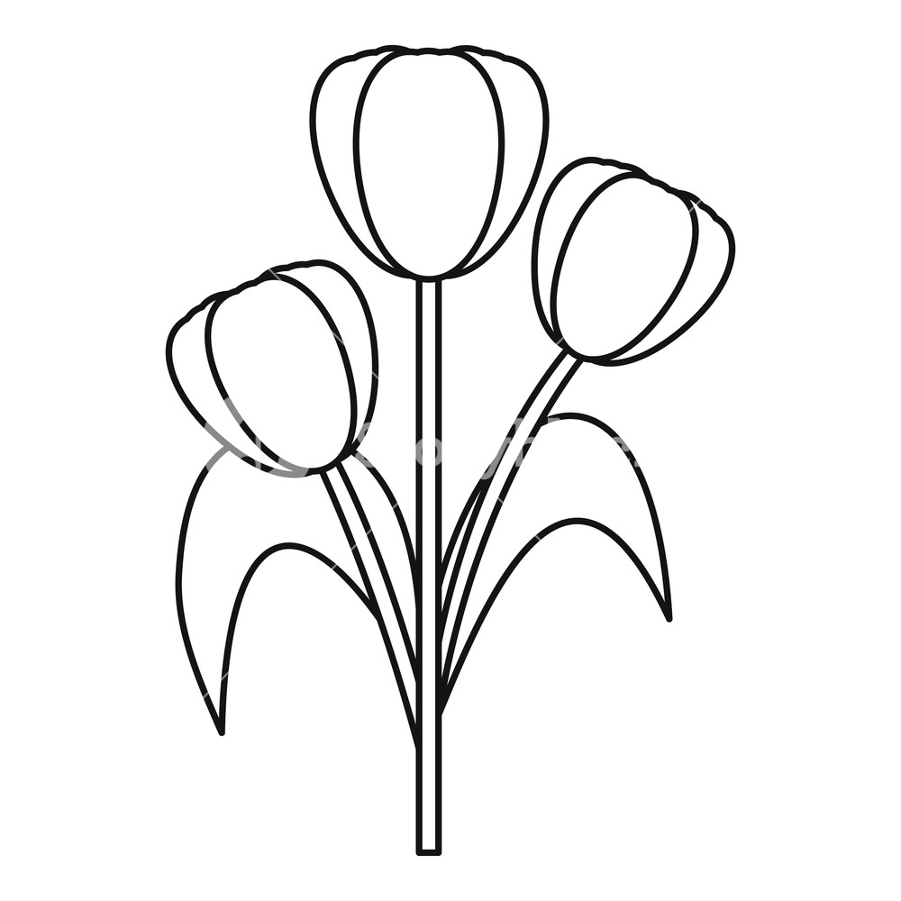 1000x1000 three tulips icon outline illustration of three tulips vector
