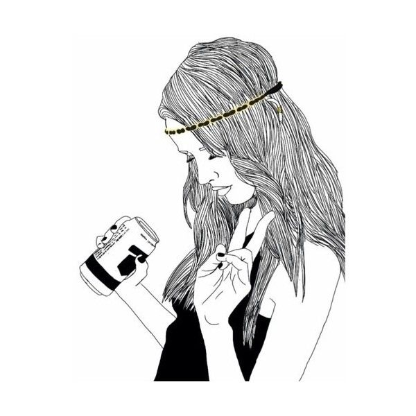 600x600 drinking drawing tumblr drinking coffee girl for free download