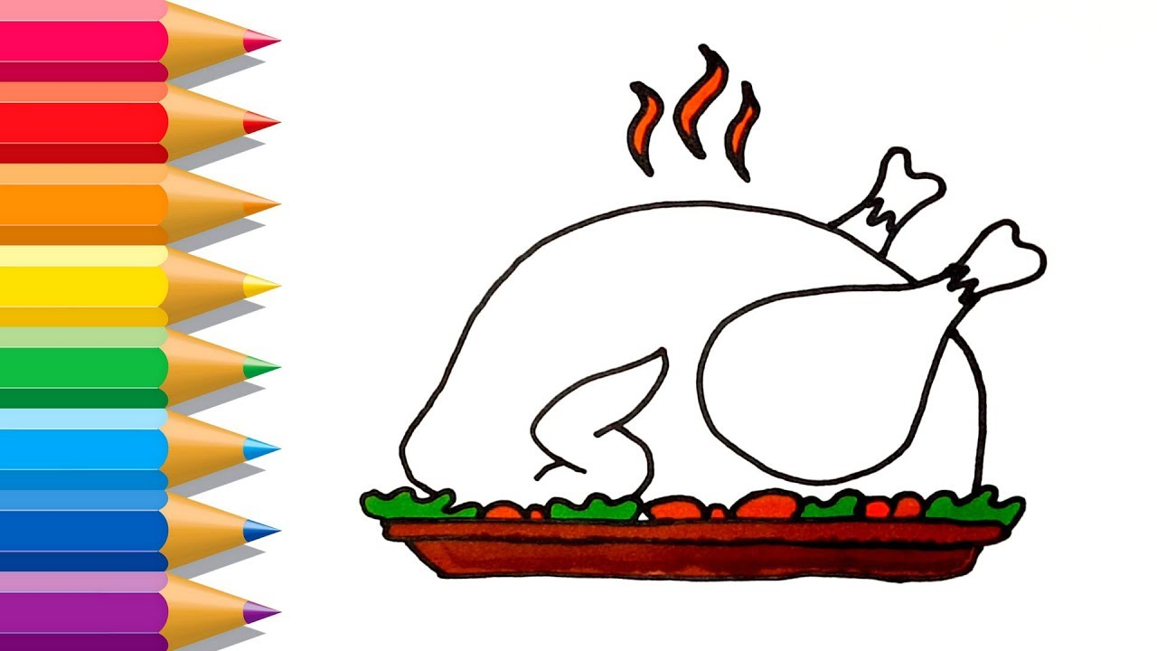 1280x720 how to draw roast turkey dinner roast turkey painting pages