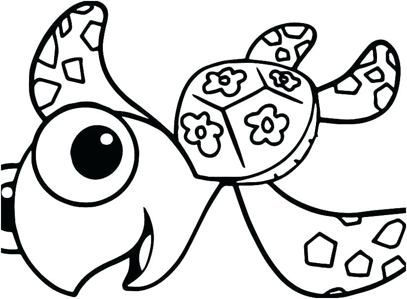 827x609 Coloring Pages Of Sea Turtles Turtle Outline Drawing Baby Cute