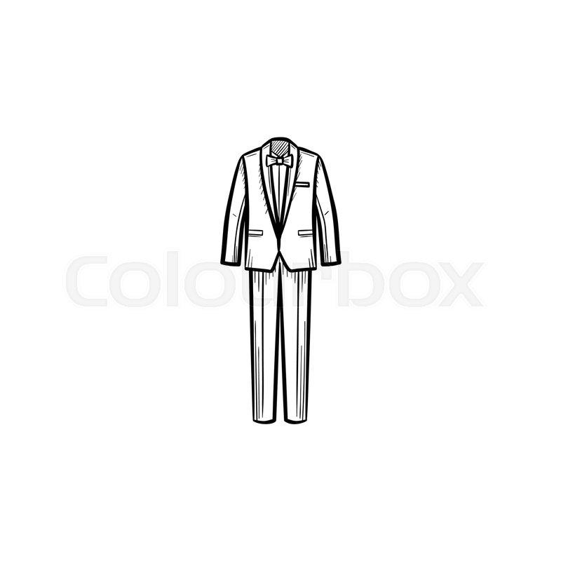 800x800 Vector Hand Drawn Wedding Suit Outline Stock Vector Colourbox