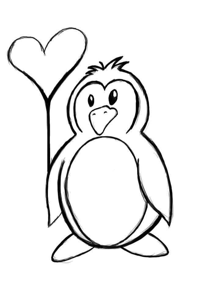 720x960 Penguin Outline Drawing