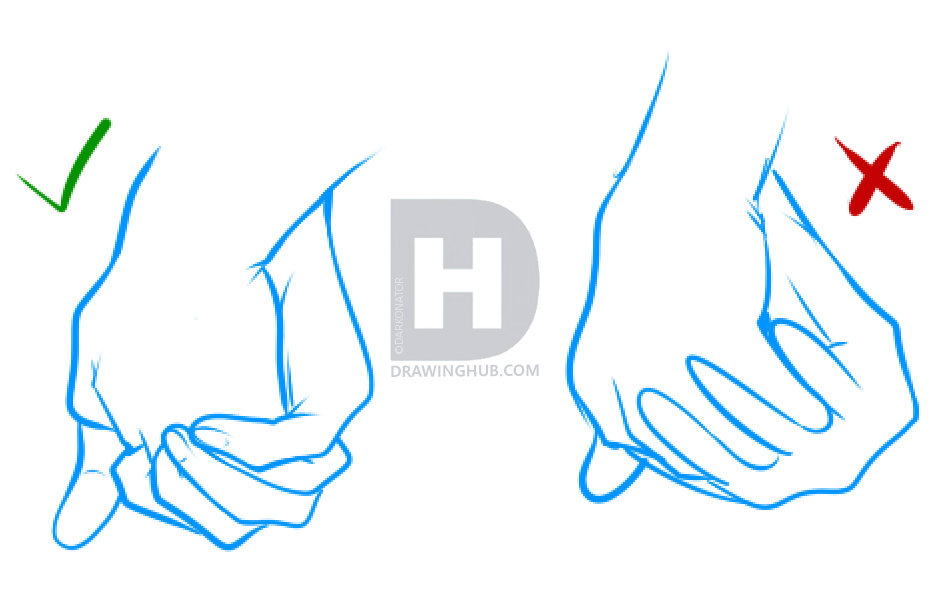 938x596 How To Draw Holding Hands, Step