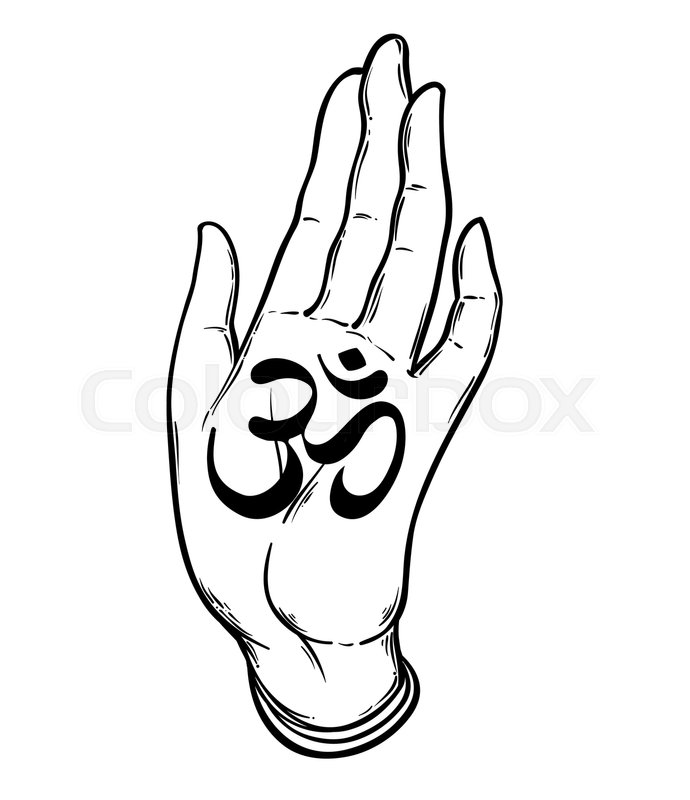 690x800 Illustration Of Two Hands Showing Om Stock Vector Colourbox
