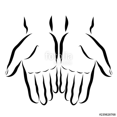 500x500 Two Hands With Empty Palms, Black Outline Stock Photo And Royalty