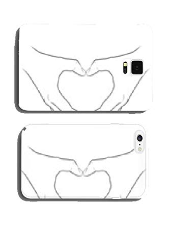 334x445 Black And White Vector Drawing Two Hands One Heart Shaped Mobile