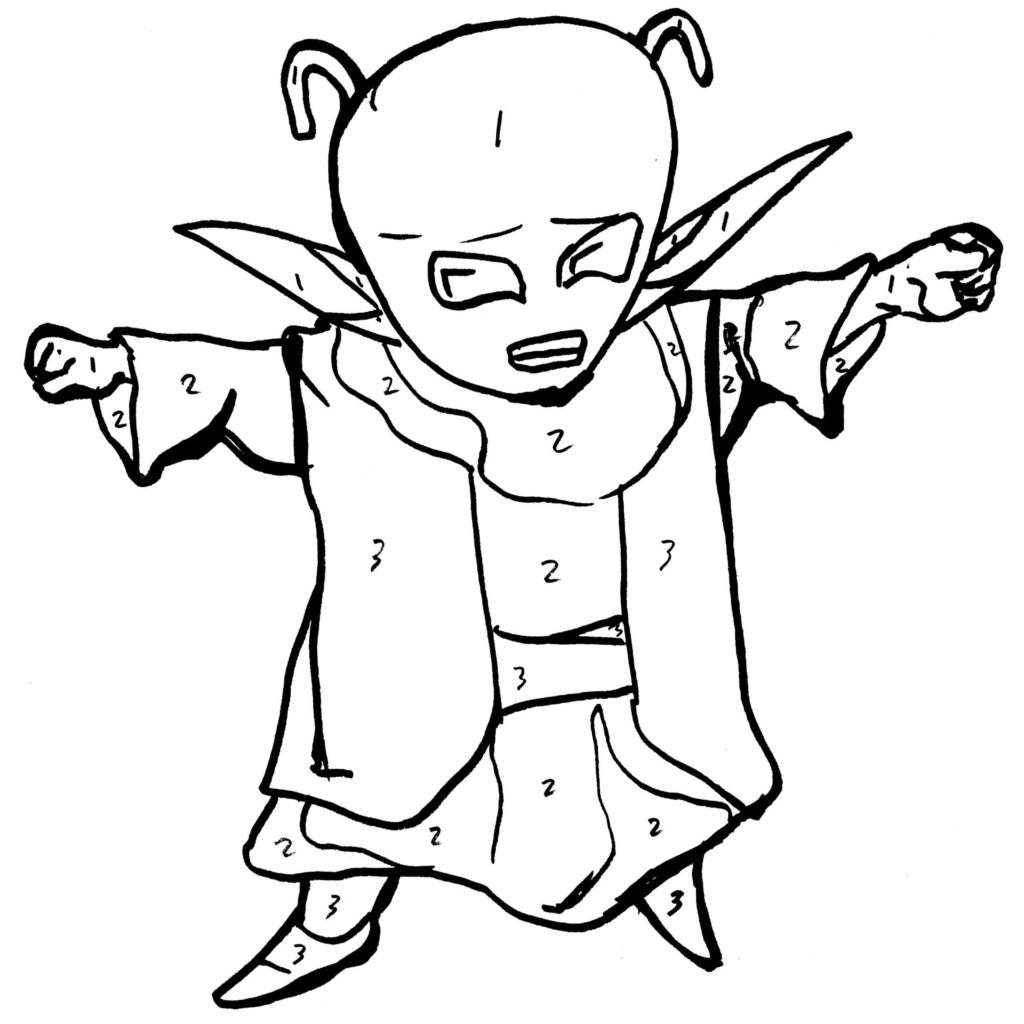 1024x1024 Dende Clenching Two Hands Coloring Pages On Ultracoloring Two