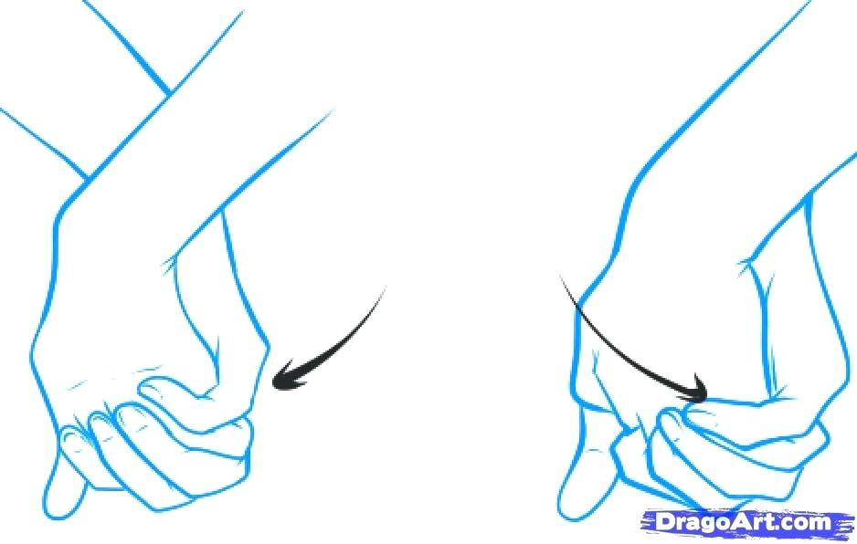 938x596 Drawing Of Hands Holding How To Draw Holding Hands Step Two