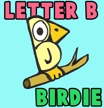 350x362 How To Draw Cartoon Birds With Alphabet Letter B Version Two
