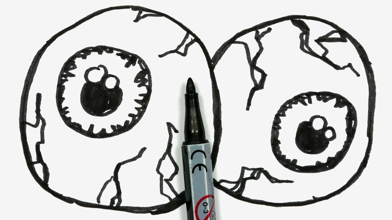 1280x720 How To Draw Two Cartoon Halloween Eyeballs