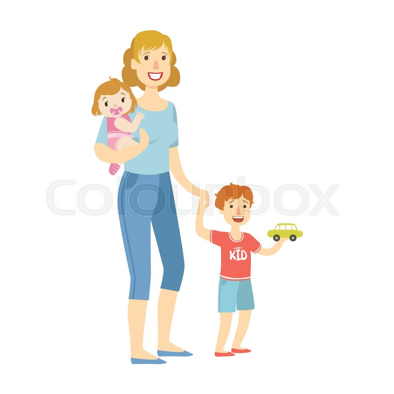 800x800 Mother With Two Kids, Baby Daughter Stock Vector Colourbox