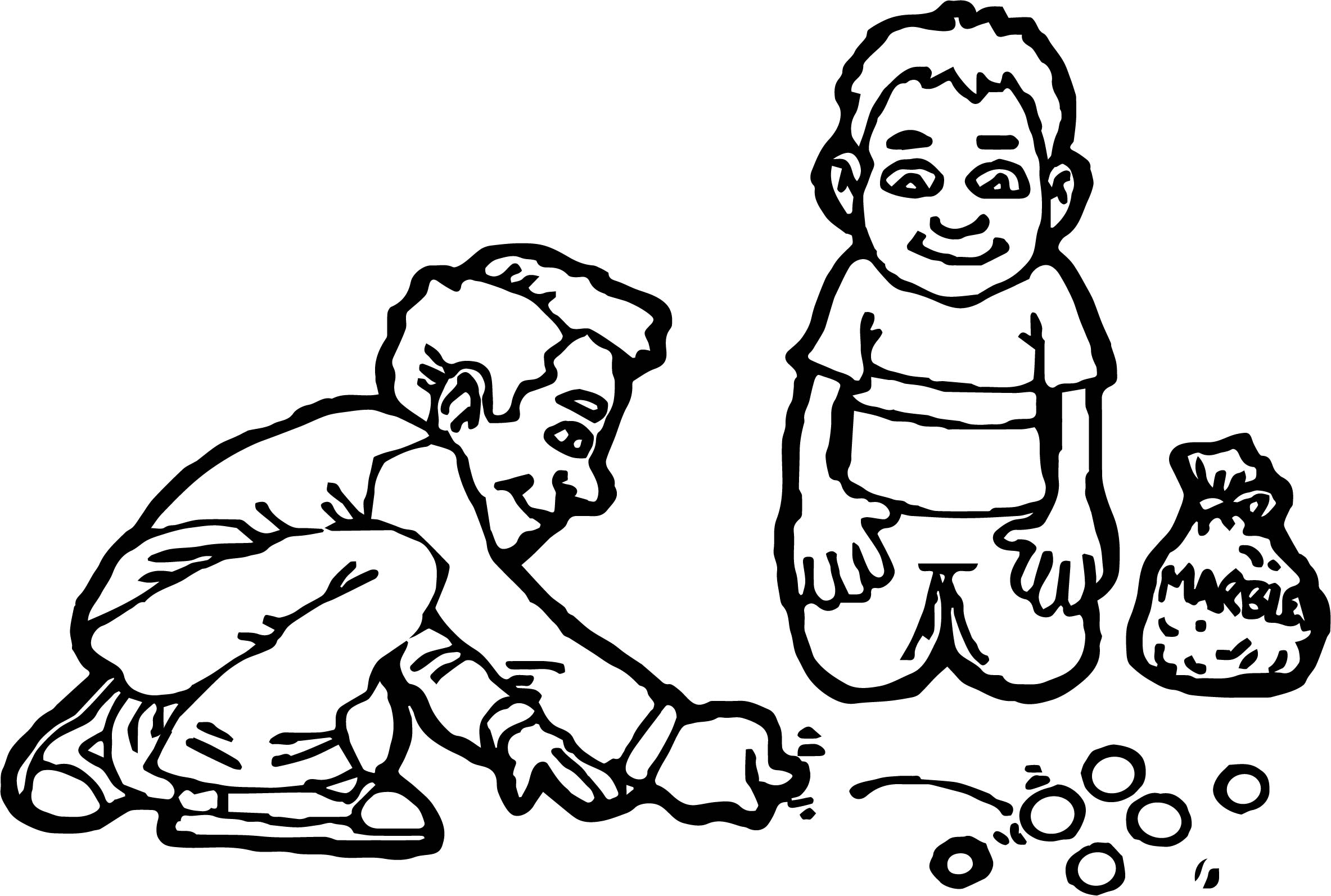 2367x1594 Two Kids Playing Marbles Coloring