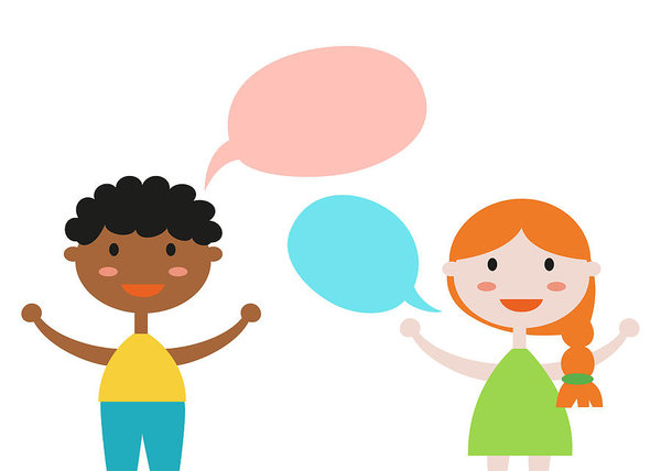 600x428 Two Kids With Speech Bubbles On White Background Art Print