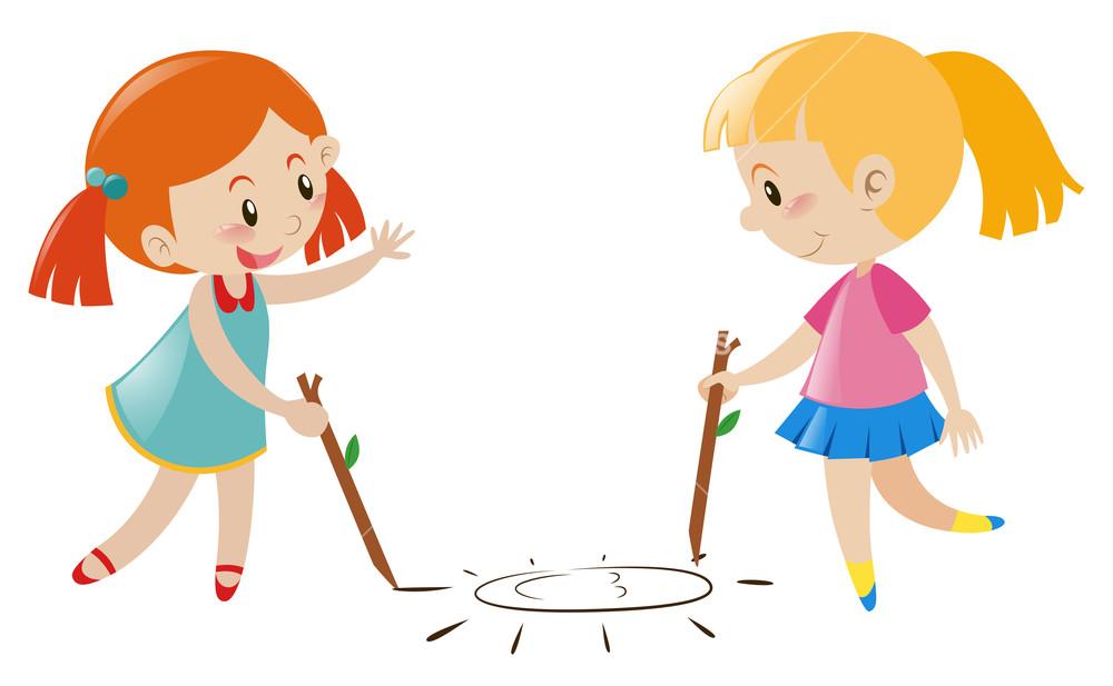 1000x617 Two Girls Drawing Sun On Floor Illustration Royalty Free Stock