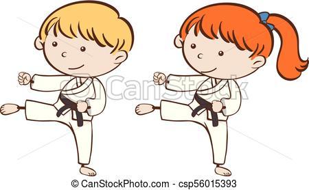450x278 Two Kids Playing Karate Illustration