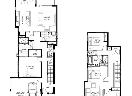 440x320 bedroom floor plan narrow block, duplex floor plans for narrow