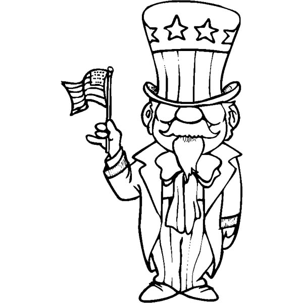 600x600 American Uncle Sam Flag Day Coloring Pages