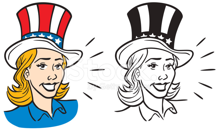 738x440 Woman In Uncle Sam Hat Stock Vector