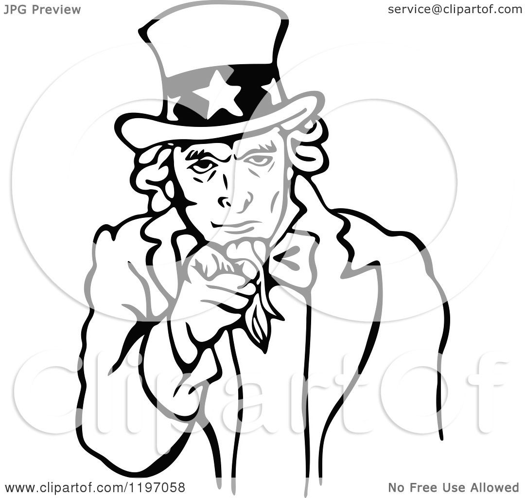 1080x1024 Clipart Of A Black And White Uncle Sam Pointing Outwards
